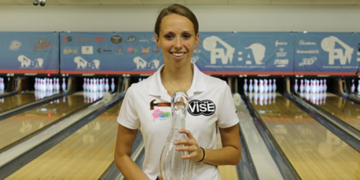 amanda greene with the trophy after winning her first pwba tour title photo by professional womens bowling association